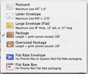 mailpiece size definitions
